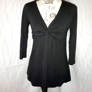 One Clothing Hot Black Wrap Top Drape Blouse Small